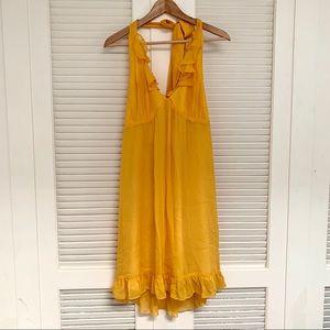 Betsey Johnson yellow silk halter dress size 10